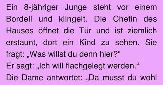 Witz des Tages: Kind will ins Bordell